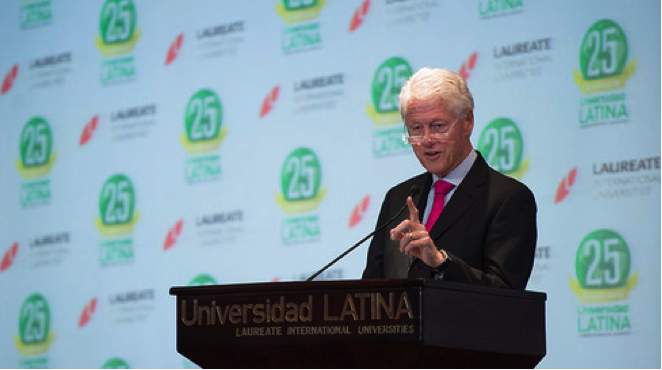 Former President Bill Clinton speaks to students at Laureate's Universidad Latina in Costa Rica. Photograph: Laureate International Universities