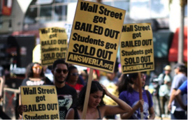 Students protesting the rising costs of loans for higher education.Credit David Mcnew/Getty Images